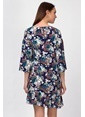 İroni Truvakar Kol Çiçekli Kısa Elbise Lacivert
